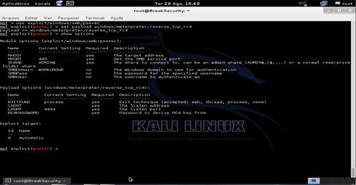 Linux: Metaspoit - Brute force + invasão com meterpreter encriptado com RC4