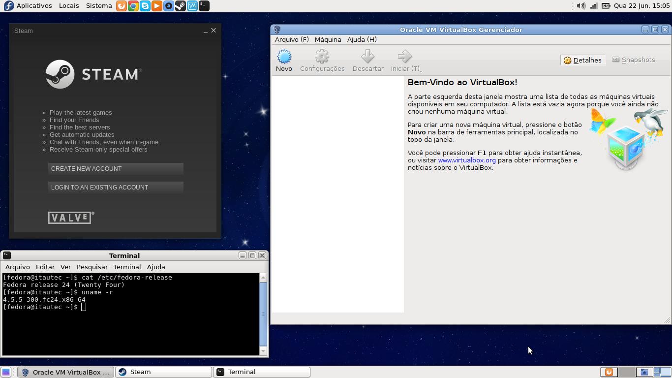 Instalando Steam e VirtualBox no Fedora 24 [Dica]