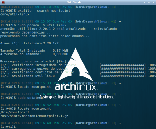 Linux: Arch Linux: /etc/rc.sysinit mountpoint not found