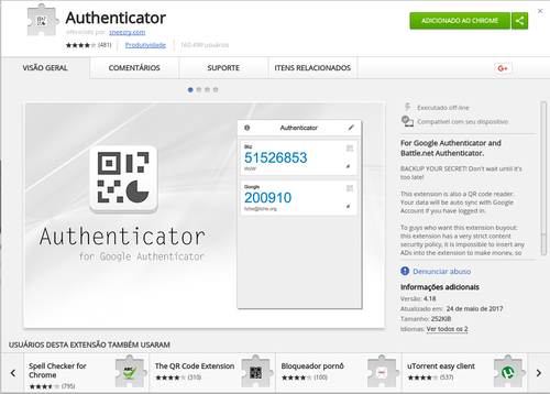 Linux: Cliente Google Authenticator para Linux (extensão Chrome)
