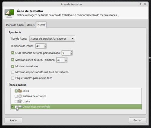 Linux: Removendo icone de dispositivos removíveis do desktop do Linux Mint